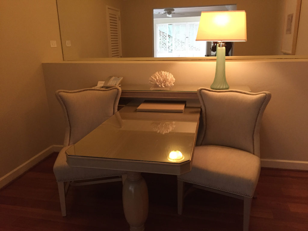 Work desk, dining table, Laguna Beach hotel