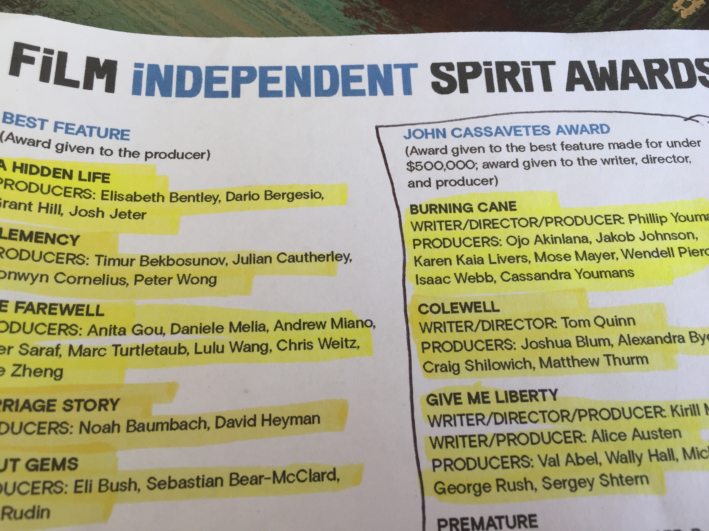 Oscar nominated movies, Independent Spirit Awards, Film Independent