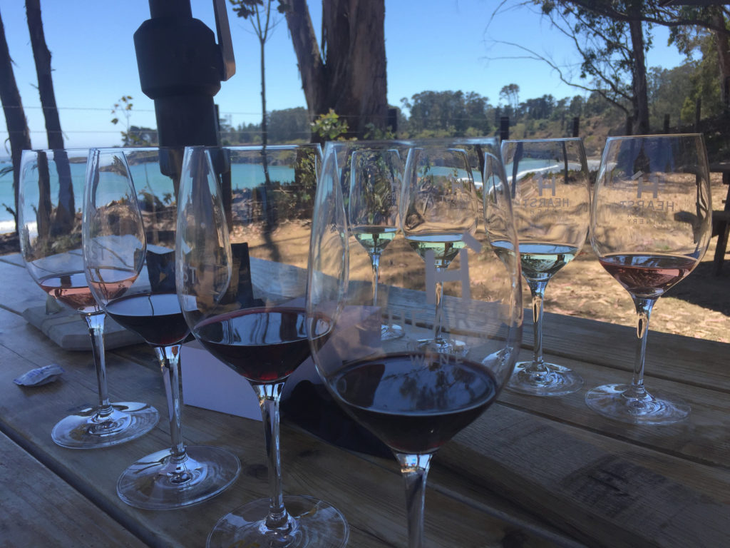 Wine flights, wine tasting by the sea, hearst ranch winery, sebastian's, central coast, road trip, those someday goals